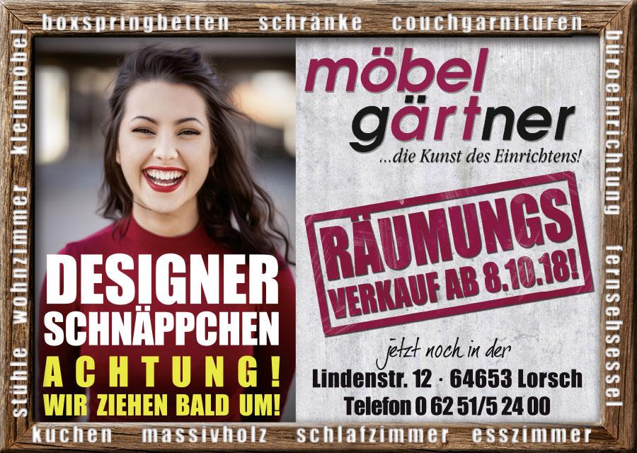 Möbelhaus Gärtner Räumungsverkauf Oktober 2018